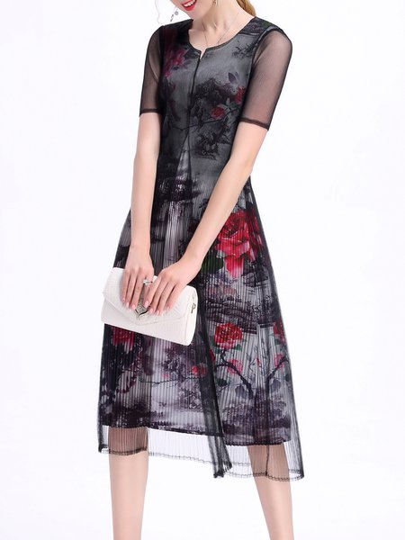 Black Floral Print V Neck Elegant A-line Midi Dress