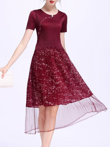 Burgundy A-line Crew Neck Elegant Midi Dress