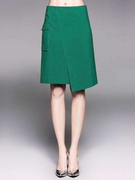 Green Solid Elegant Asymmetric Midi Skirt