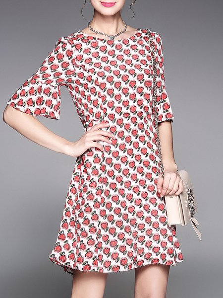 Frill Sleeve Printed Girly Midi Dress