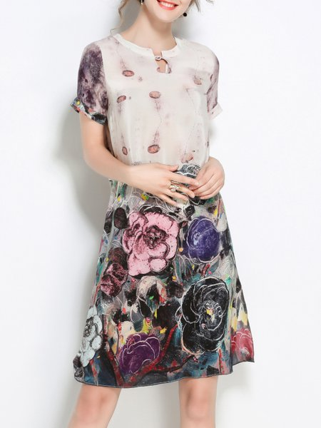 Floral-print Casual H-line Crew Neck Polyester Short Sleeve Midi Dress