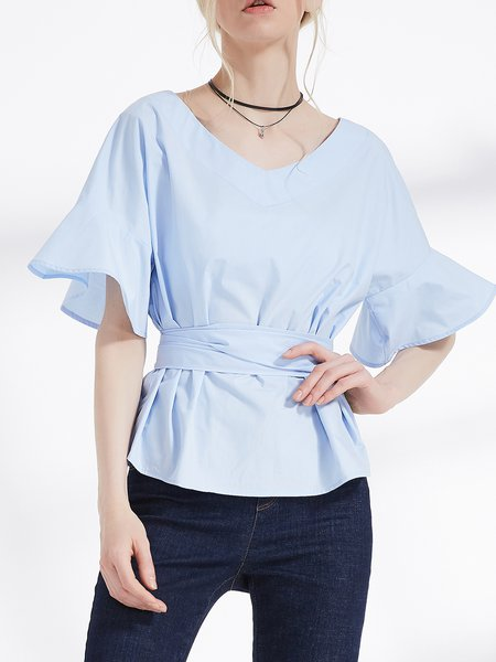 Blue Solid Bow Casual Blouse