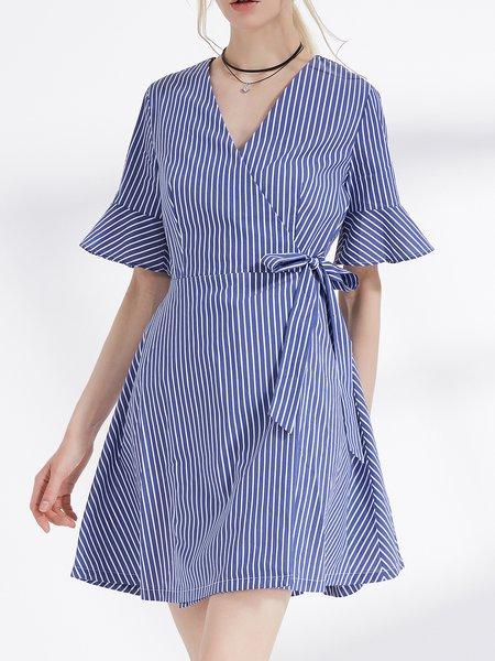Blue Bell Sleeve Cotton-blend Mini Dress