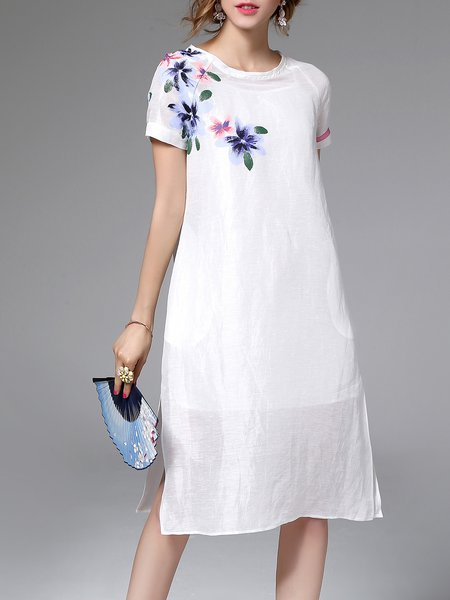 White Two Piece Pockets Short Sleeve Linen Midi Dress