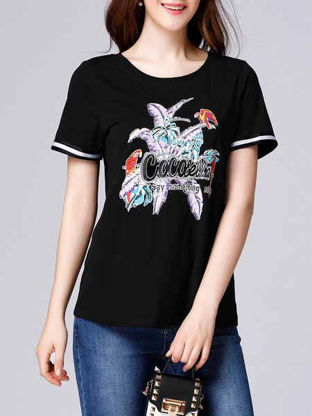 Black H-line Cotton-blend Short Sleeve Letter T-Shirt