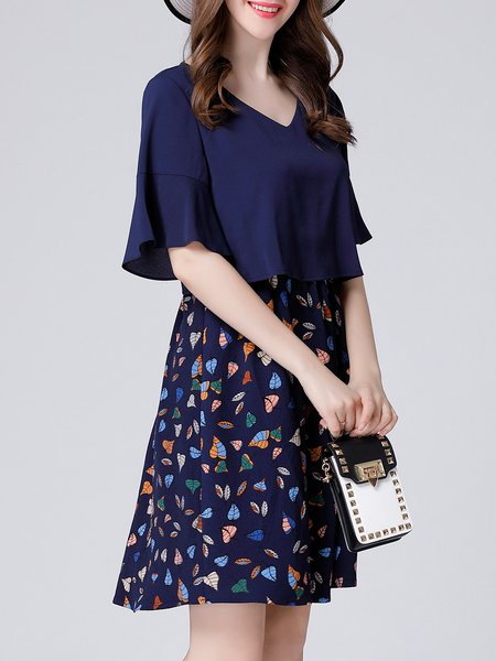 Navy Blue  Bell Sleeve Printed Mini Dress