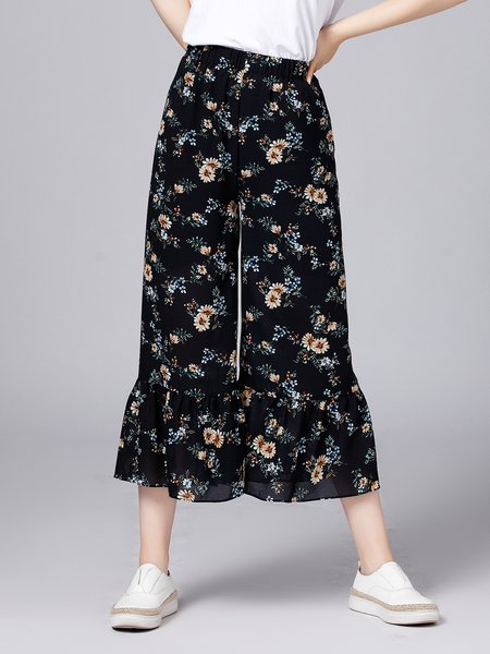 Navy Blue Printed Floral Casual Wide Leg Pants