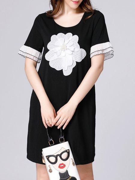 Black Short Sleeve Floral H-line Midi Dress