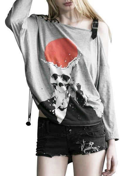 Statement Cold Shoulder Cotton-blend Long Sleeve T-Shirt