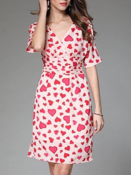 Pink Casual V Neck  Midi Dress
