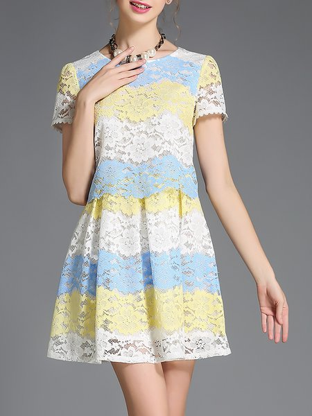 A-line Girly Short Sleeve Mini Dress