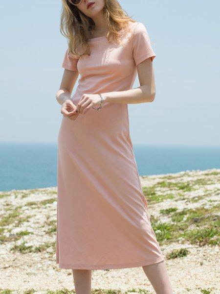 Bateau/boat Neck Solid Short Sleeve Midi Dress