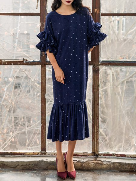 Navy Blue Polka Dots Casual Midi Dress