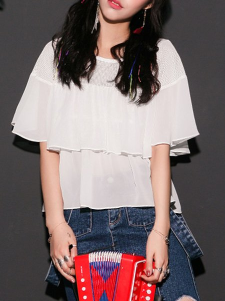 White Crew Neck Ruffled Casual Tops
