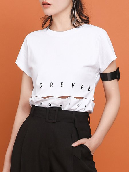 Pierced Letter Printed Casual H-line Short Sleeve T-Shirt