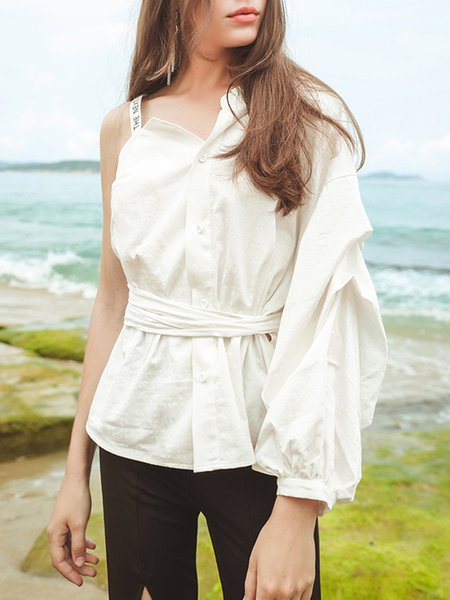 White Cotton Balloon Sleeve Solid One Shoulder Blouse