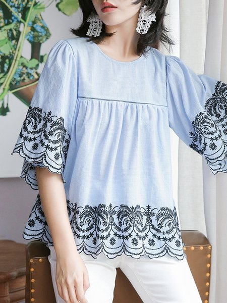 Blue Casual Floral Embroidered A-line Cotton-blend Blouse