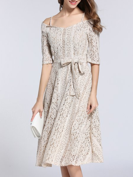 Khaki Off Shoulder Lace Girly Midi Dress