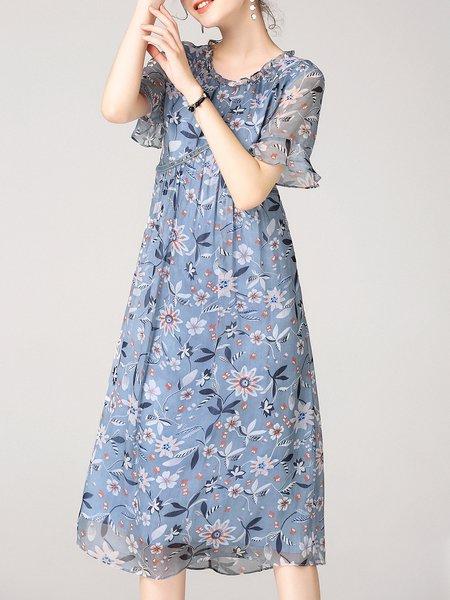 Light Blue Bell Sleeve Girly Floral-print Silk-blend Midi Dress