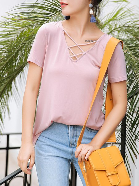 Pink Lace Up Crew Neck Casual T-Shirt