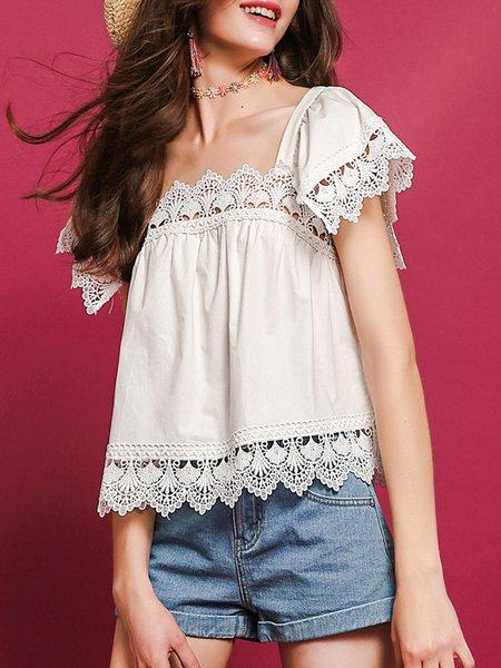 White H-line  Crocheted Pierced Cutout Short Sleeve Blouse
