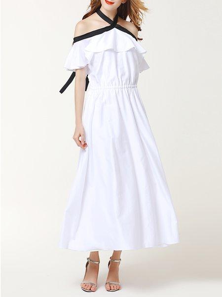 White Beach Cotton-blend Solid Maxi Dress