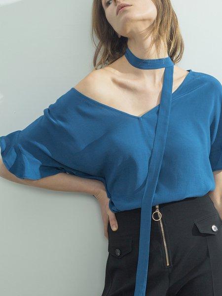 Blue Simple V Neck Slit Solid Blouse