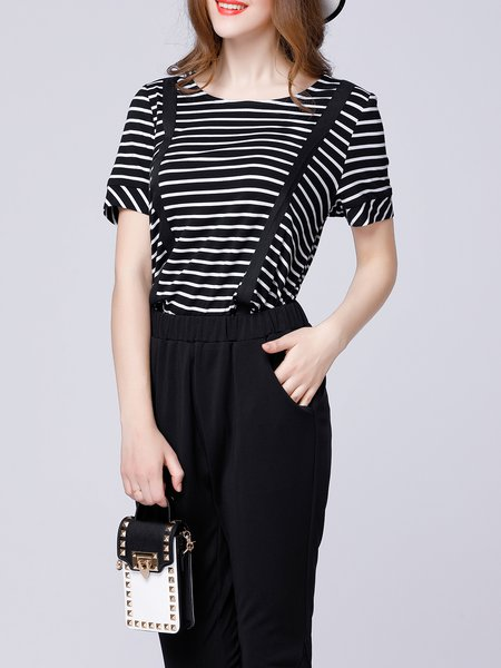 Two Piece Black Crew Neck Short Sleeve Beaded Stripes Overall