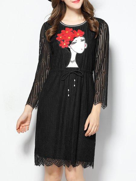 Shift Casual 3/4 Sleeve Midi Dress