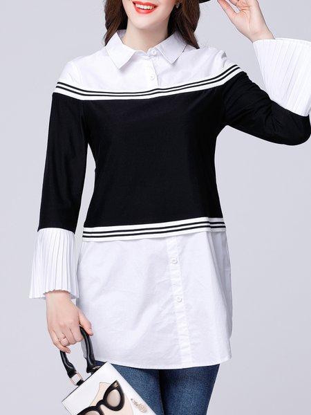 Paneled  Pleated White-black Stripes Casual Tunic