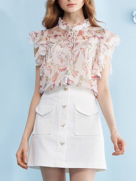 Pink Animal Stand Collar Frill Sleeve Tops