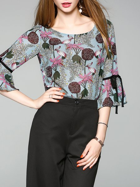 Blue Printed Frill Sleeve Floral Top