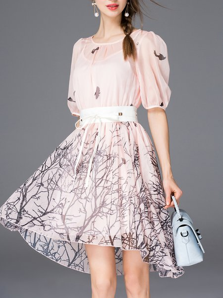 Bow Silk-blend Half Sleeve Skater Midi Dress