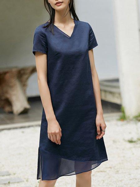 Short Sleeve H-line Solid V Neck Midi Dress