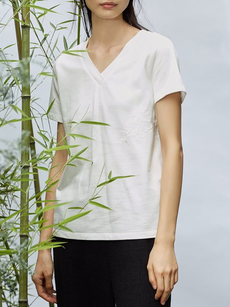 Cotton Solid Simple Short Sleeve T-Shirt