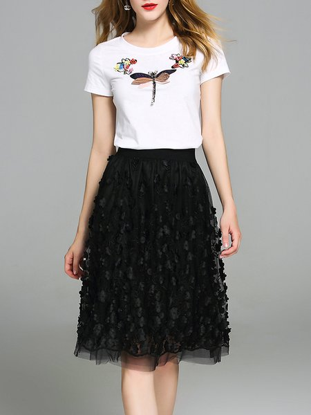 Black-white Short Sleeve Beaded Two Piece Floral Appliqued Midi Dress