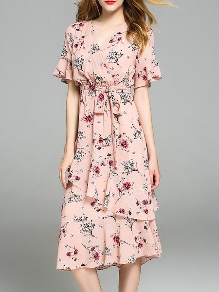 Pink Floral-print Chiffon Casual Ruffled V Neck Flounce Midi Dress