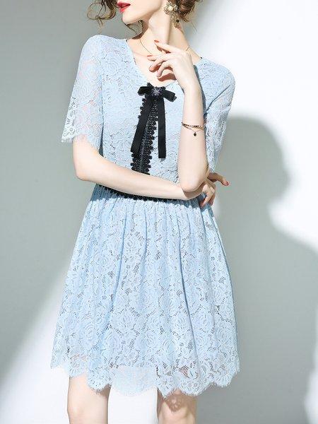 Blue Bow  Lace A-line Shorts Sleeve Midi Dress