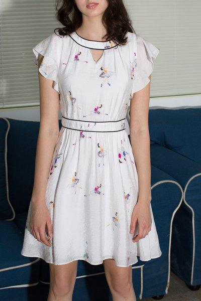 Casual Frill Sleeve Printed Midi Dress