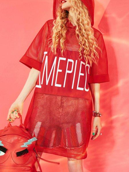Hoodie Printed Casual H-line Half Sleeve Mini Dress