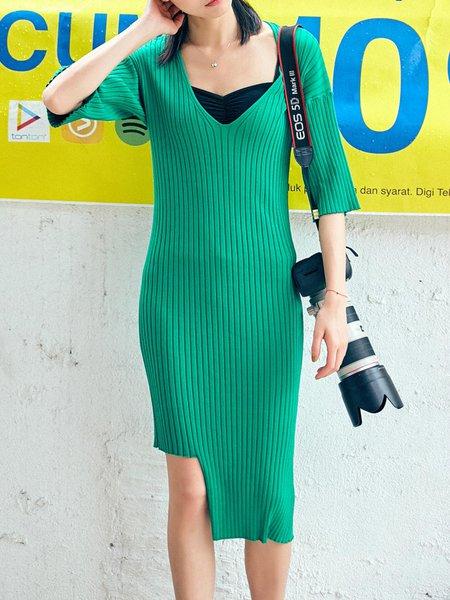 Asymmetric Knitted Sheath Half Sleeve V Neck Midi Dress