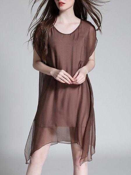 Coffee Casual Solid Crew Neck Asymmetrical Midi Dress