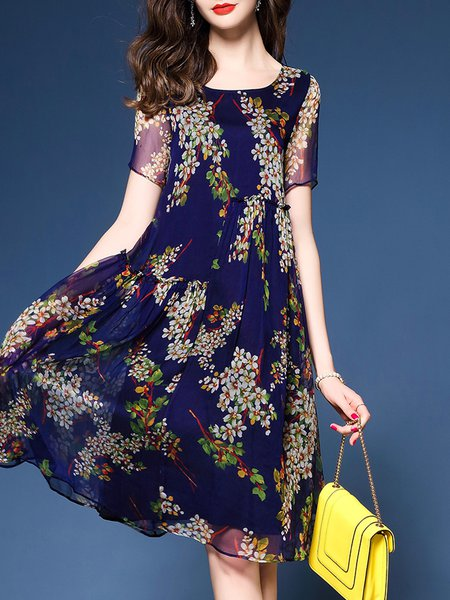 Floral Short Sleeve A-line Midi Dress