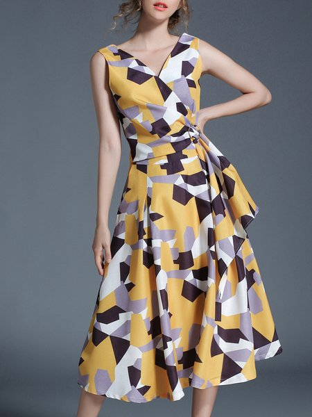 Yellow A-line  Sleeveless Printed Midi Dress