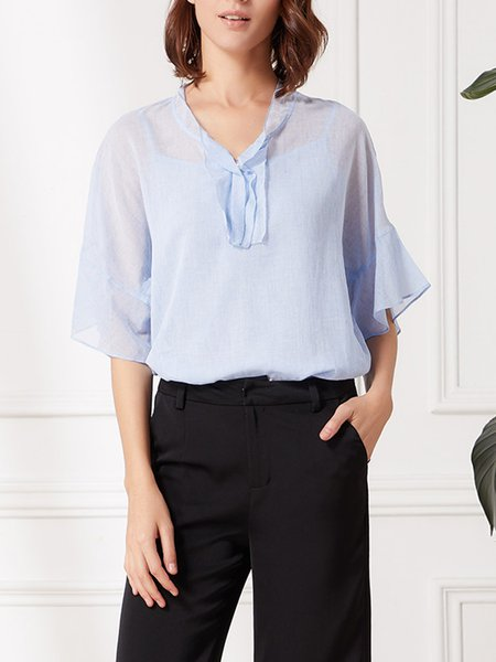 Light Blue Stand Collar Solid Casual Tops