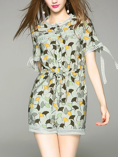 Green Two Piece Casual Floral Rompers