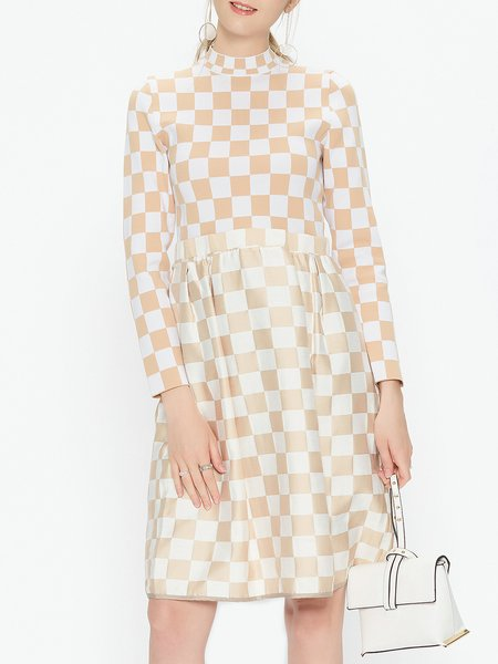 Apricot Stand Collar Printed Long Sleeve Checkered/Plaid Midi Dress