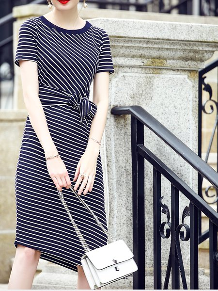 Paneled Slit Stripes Shorts Sleeve Casual Midi Dress