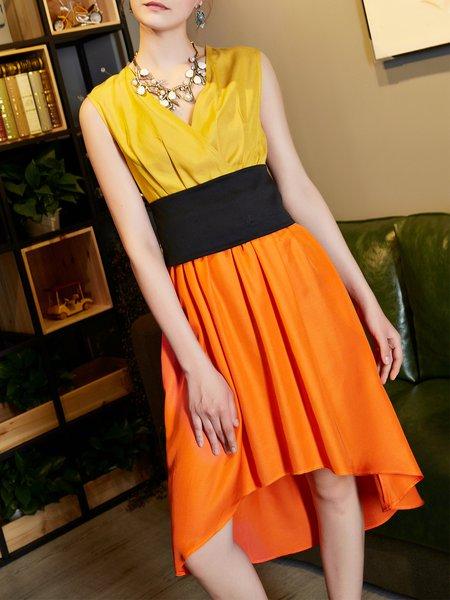 Yellow Sleeveless Paneled Midi Dress