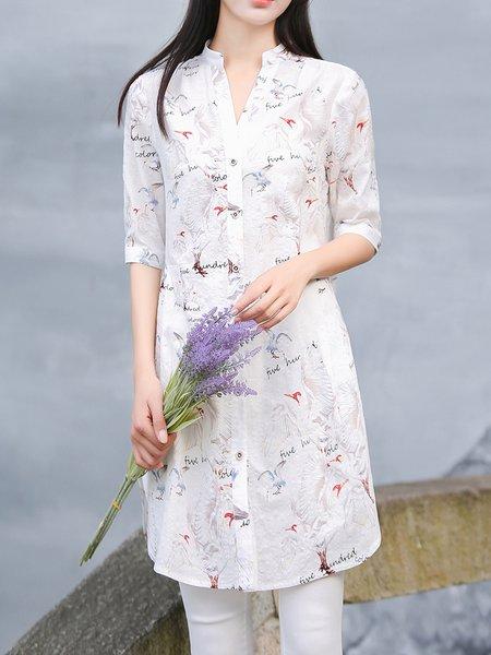 Casual Cotton-blend Half Sleeve Shirt Collar Blouse
